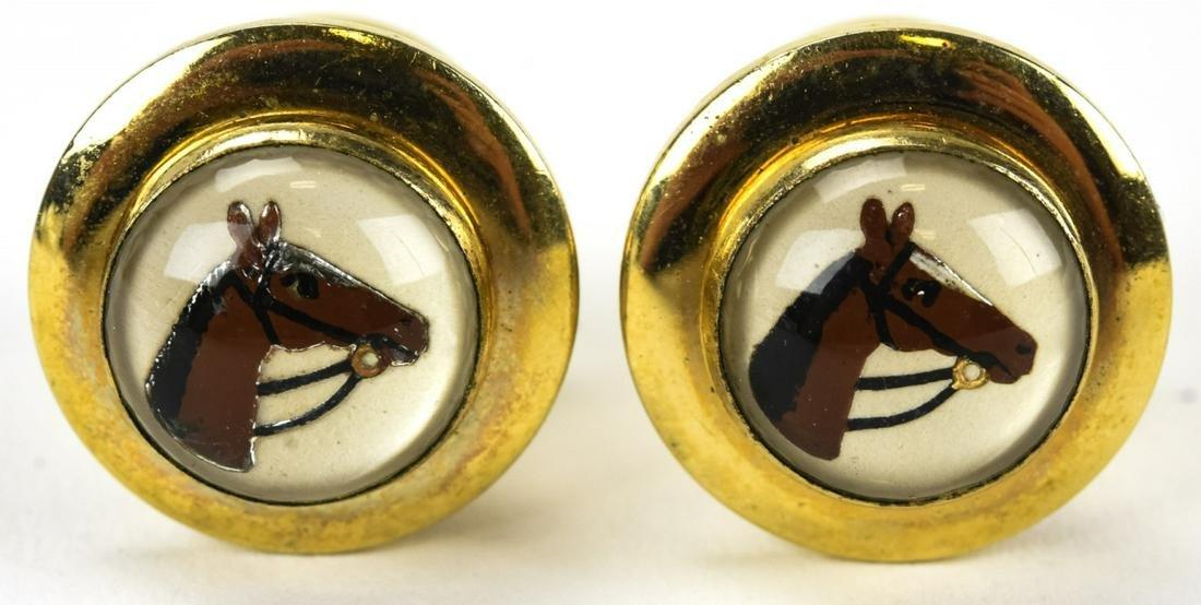 Pair Vintage Horse Head Essex Crystal Cuff Links