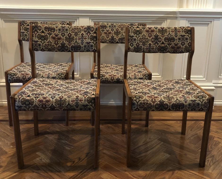Set 4 Mid Century Upholstered Teak Side Chairs