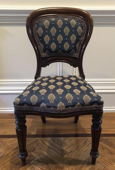 19th C English Victorian Upholstered Carved Chair