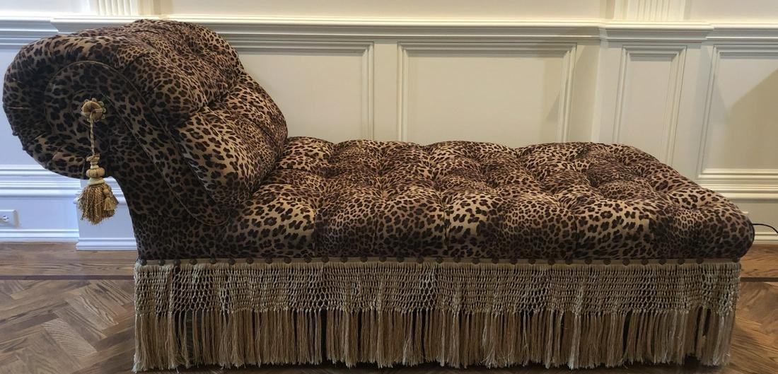 Custom Hollywood Regency Tufted Chaise Lounge