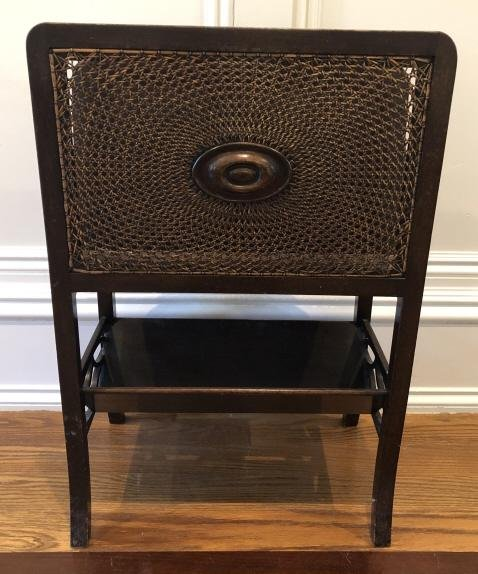 Chippendale Carved Wood and Caned Magazine Rack