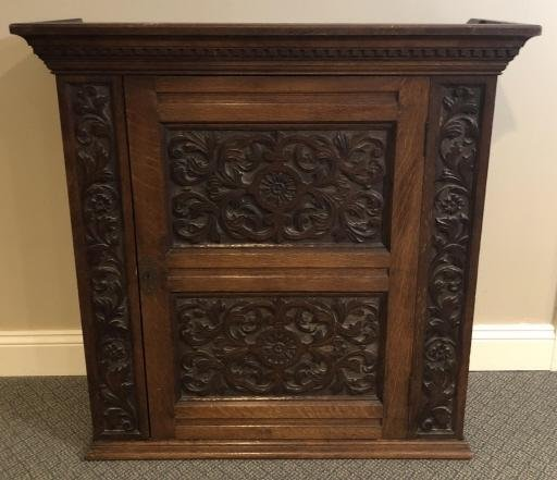 English Arts Crafts Heavily Carved Hanging Cabinet