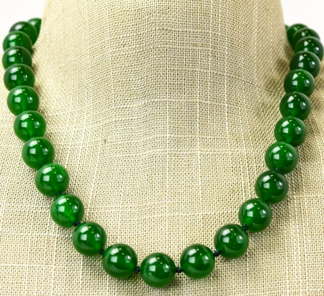 Hand Knotted Green Jade Necklace Strand