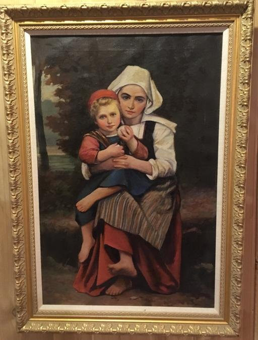 Old Master Style Oil Painting of Woman & Child