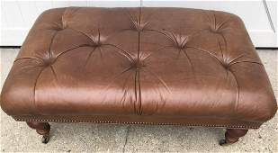 Chesterfield Style Tufted Leather Ottoman