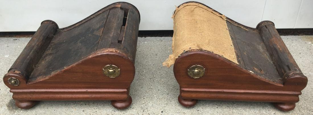 Pair Empire Style Bun Foot Foot Stools