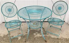 Pair Vintage Blue Metal Chairs & Bistro Table