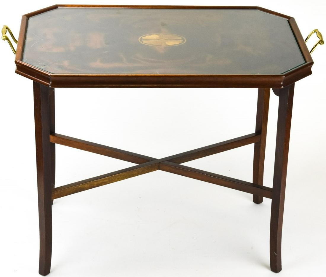 Empire Glass Top Tray Table Marquetry