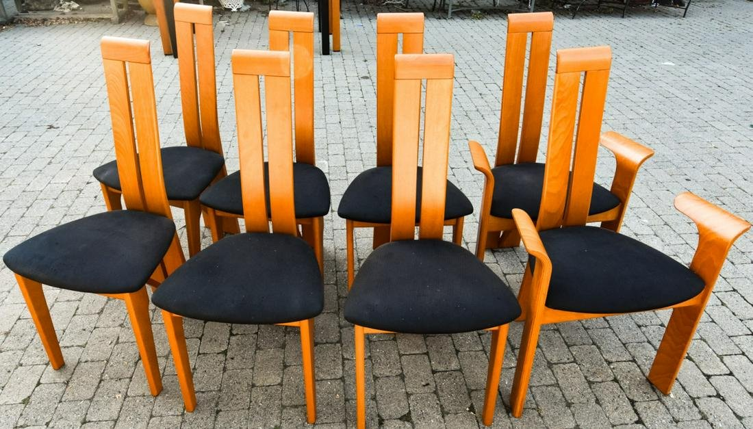 8 Contemporary Raw Cherry Italian Dining Chairs