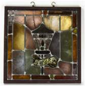 Antique English Framed Stained Glass Window Panel