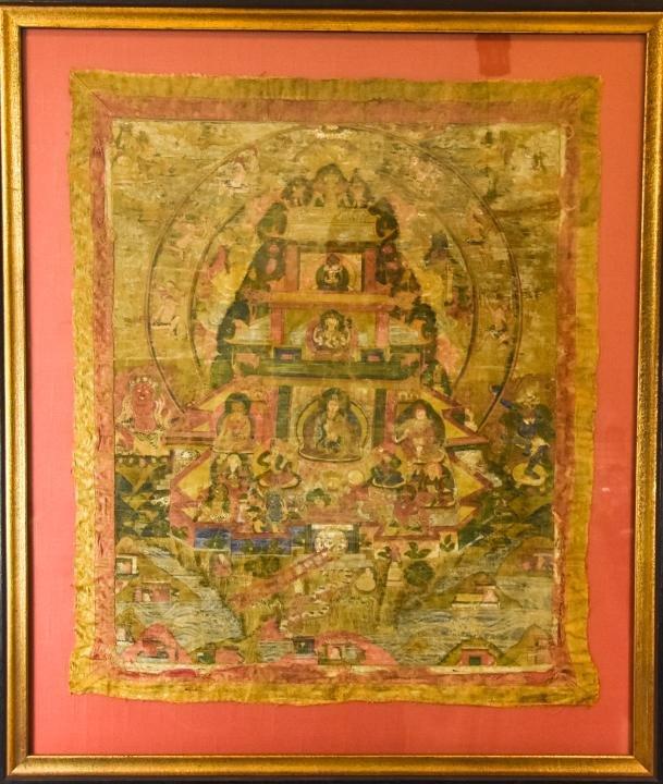 Antique Hand Painted Silk Tibetan Thangka