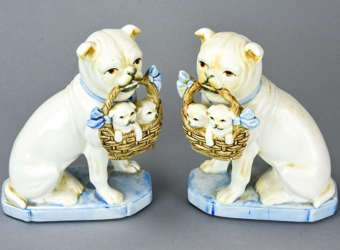 Pair Vintage Porcelain Pugs + Basket of Puppies