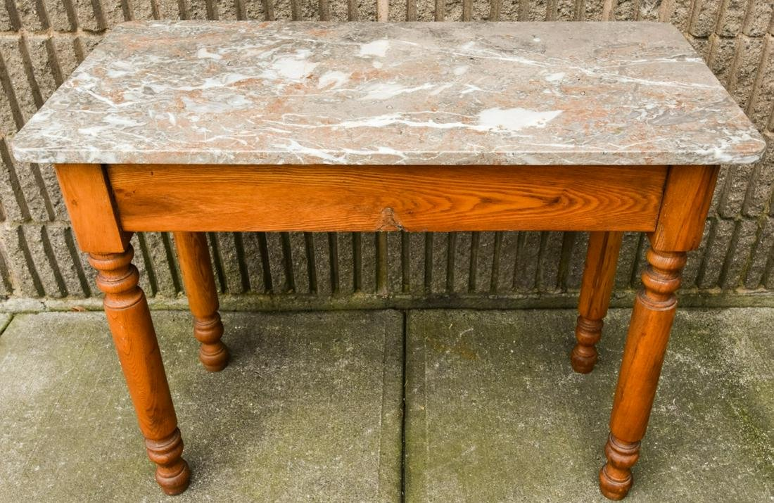 Antique Pine Turned Leg Marble Top Console