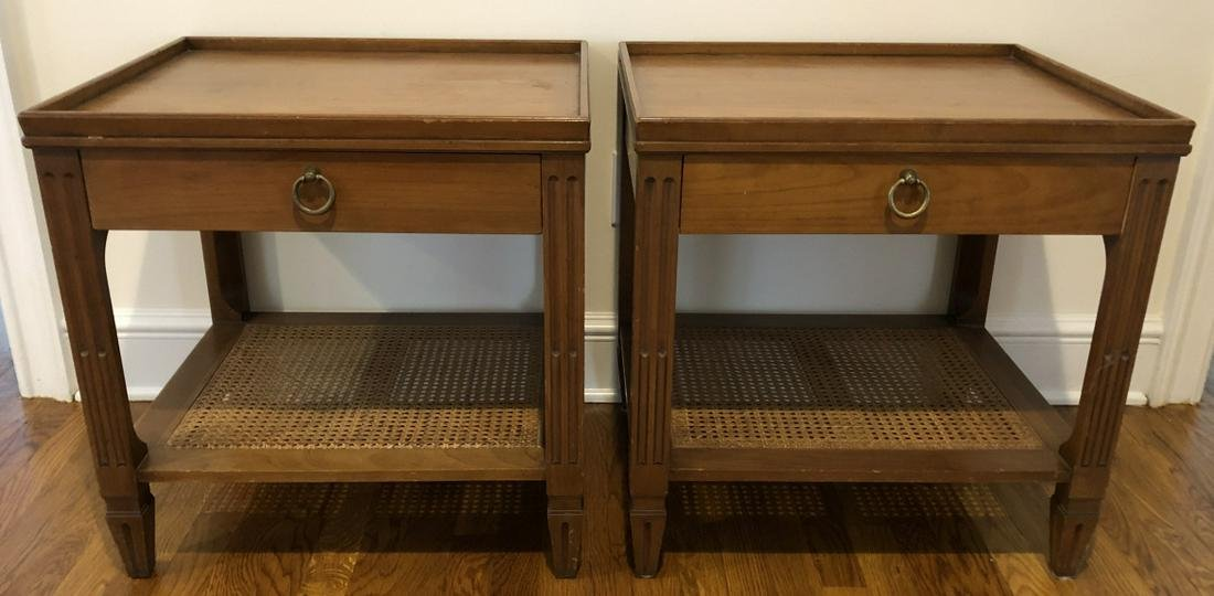 2 Baker Furniture Mid Century Caned Night Stands