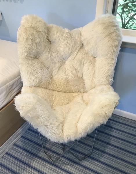 Contemporary Shag Fur Upholstery Fabric Chair