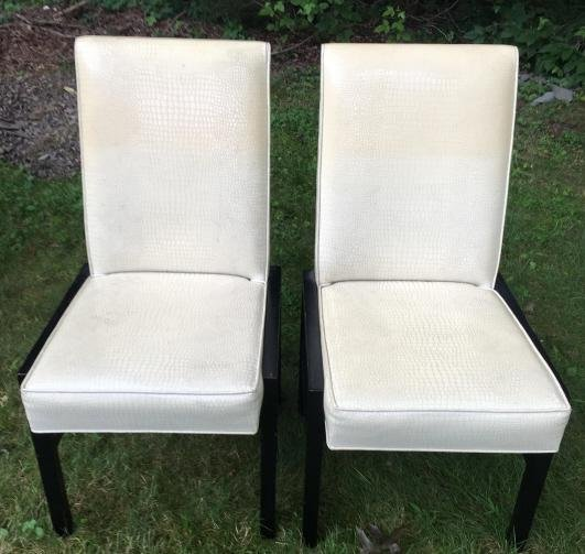 Pair Contemporary Faux Leather Parsons Chairs