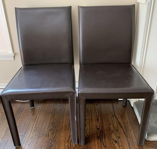 2 Contemporary Leather Parsons Style Side Chairs