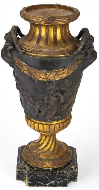 Antique 19th C French Cast Bronze & Marble Urn