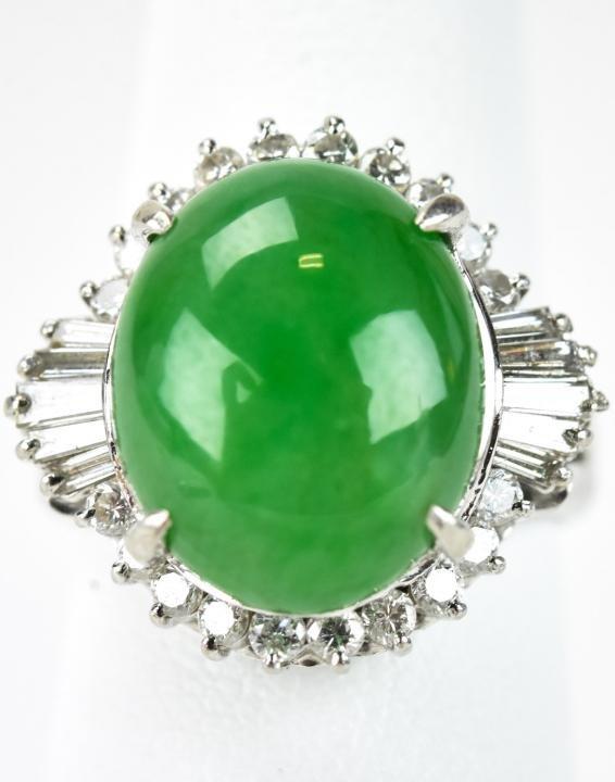 Estate Platinum Diamond & Jade Cabochon Ring