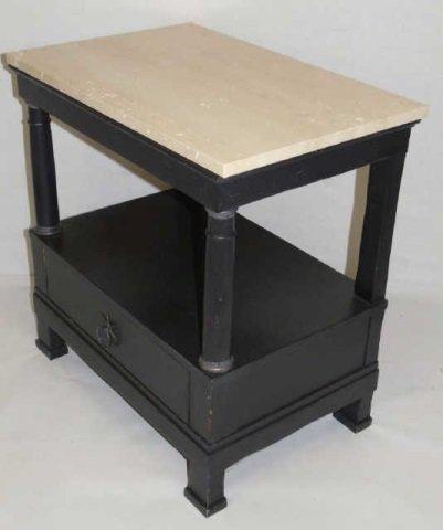 Contemporary Limestone Top Console Cabinet Table
