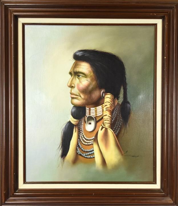 Z. Garcia Native American Portrait Oil Painting