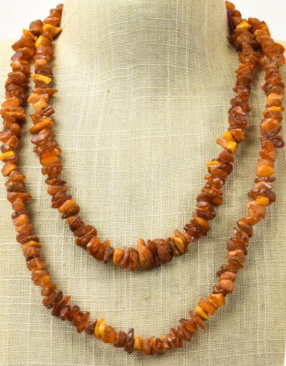 49 Inch Necklace Strand of Amber Beads