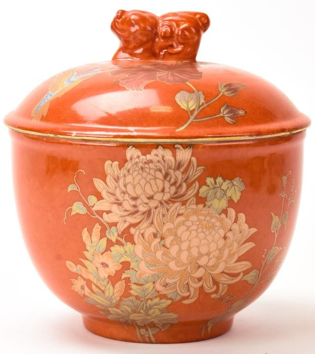 Chinese Hand Painted Orange Porcelain Covered Jar