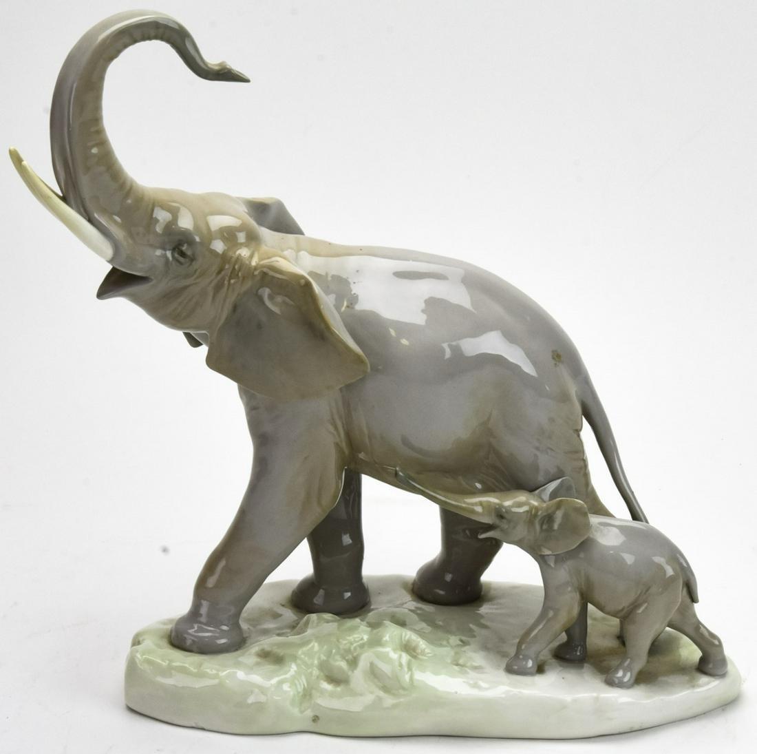 LLadro Large Scale Porcelain Elephant + Baby
