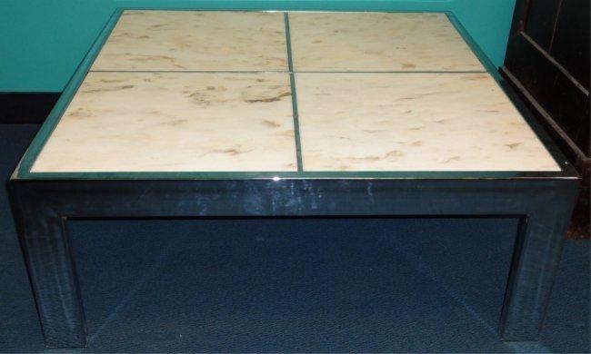Mid Century Modern Metal & Marble Coffee Table
