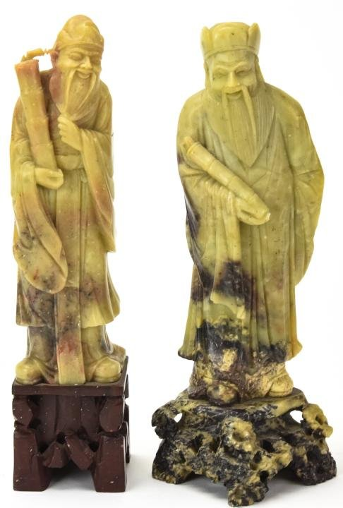2 Chinese Hand Carved Soapstone Sage Statues