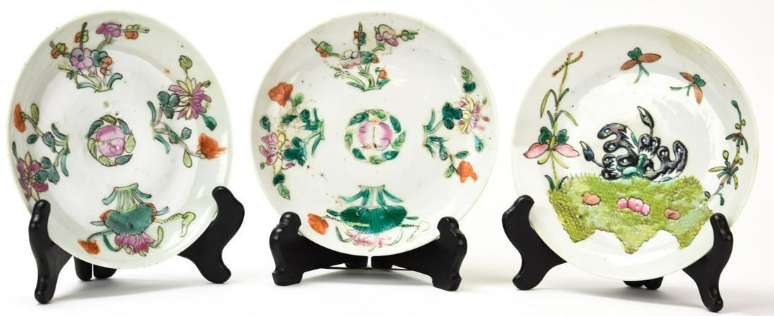 3 Antique Chinese Porcelain Plates W Peach Motif