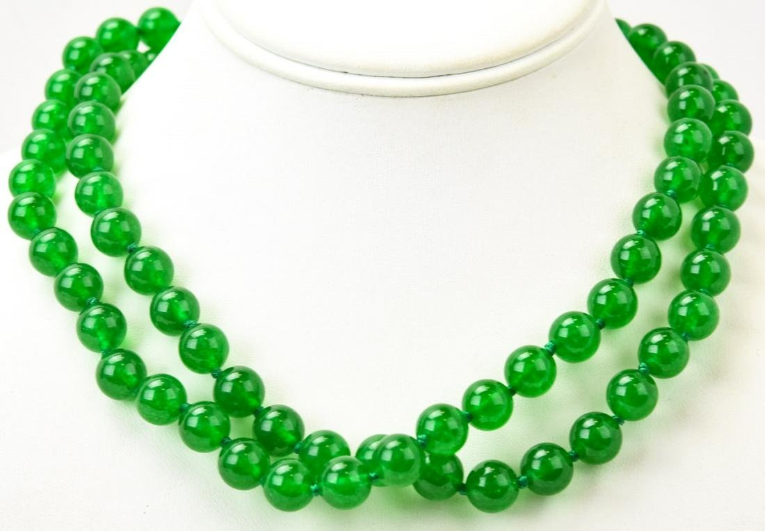 Pair of Hand Knotted Green Jade Bead Necklaces