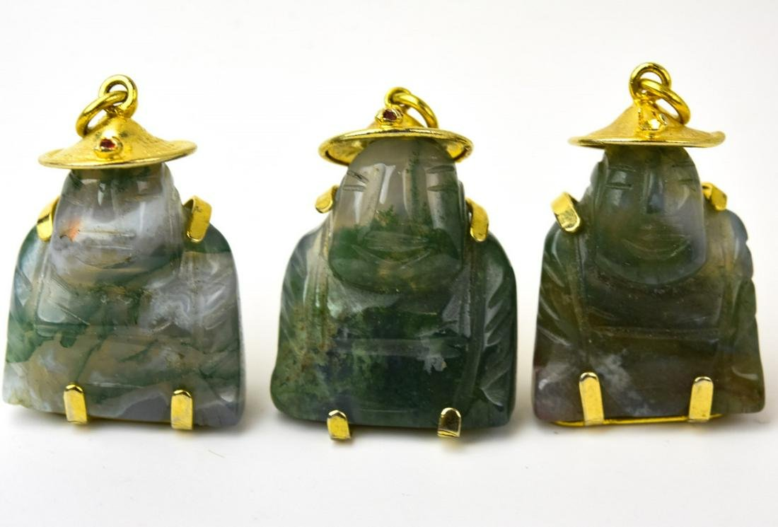 Three Carved Buddha Necklace Pendants Incld Jade