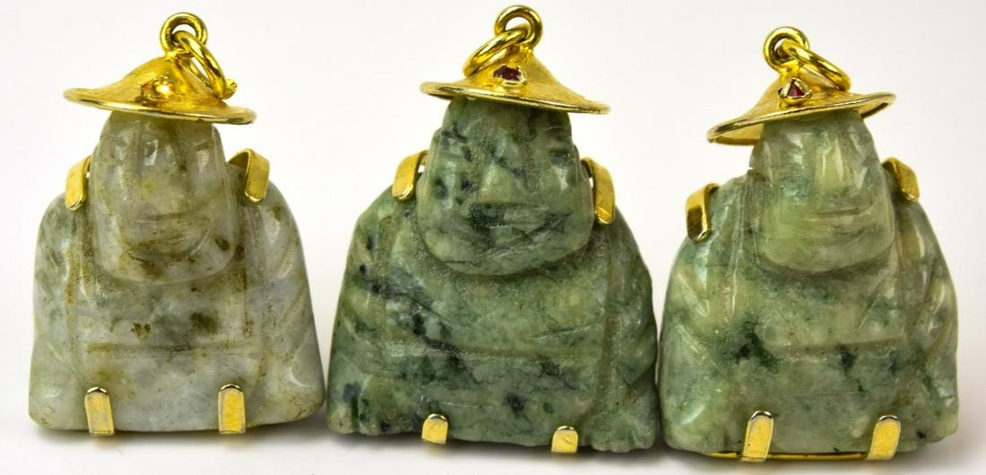 Three Chinese Jade Buddha Necklace Pendants