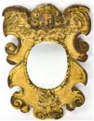 Antique 18th C Carved Cherub Gilt Wood Wall Mirror