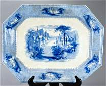 Antique 19th C Blue & White Transferware Platter