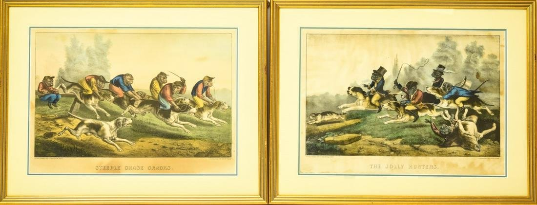 2 Antique Currier & Ives Hand Colored Lithographs