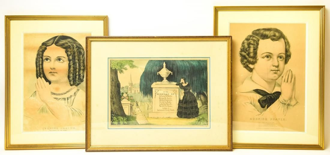 N Currier Mourning Print & 2 Portrait Lithographs