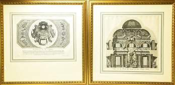 2 Framed Antique Architectural Engravings