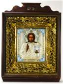 Antique 19th C Russian Icon of Christ in Kiot