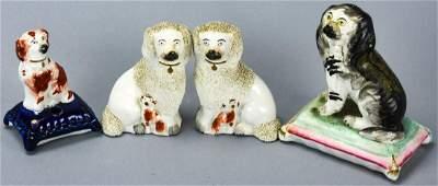 Lot Antique Staffordshire Porcelain Spaniel Dogs