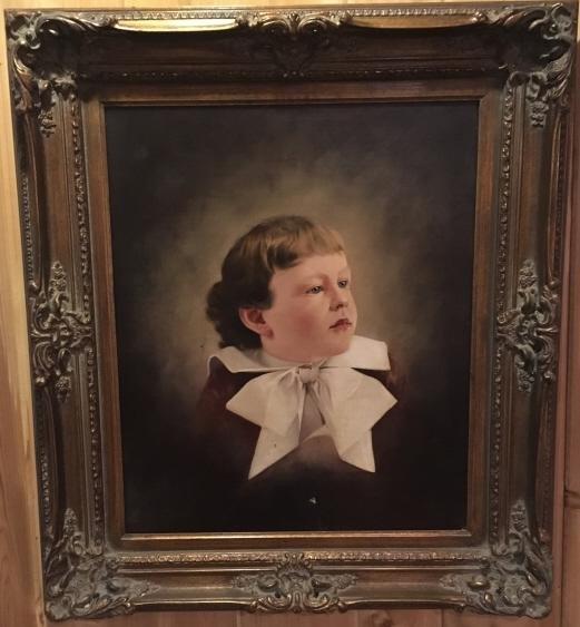 Antique Oil Painting Portrait of a Young Boy