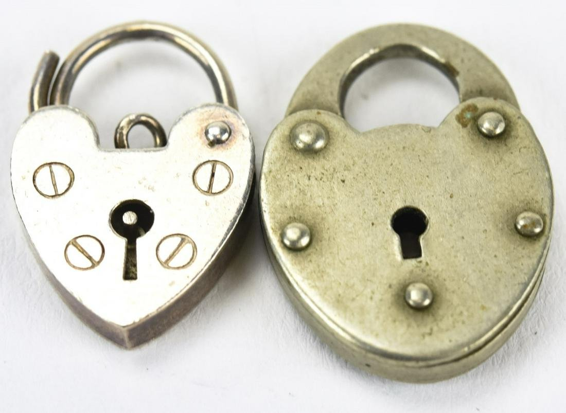 Antique Sterling & Silver Heart Padlock Charms