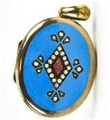 Antique 19th C Robins Egg Blue Enamel Locket