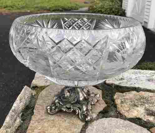 Silver Plate & Cut Crystal Center Piece