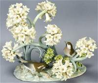 Large Lladro Porcelain Statue of Birds w Flowers