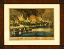 Antique Currier  Ives Fall of Richmond Print