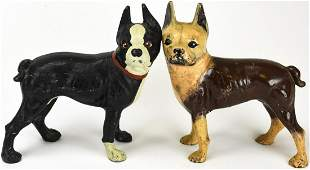2 Painted Cast Iron Boston Terrier Doorstops