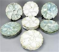 12 German Porcelain Hand Painted Oyster Plates