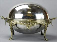 Antique Silver Plate + Brass Roll Top Serving Dish